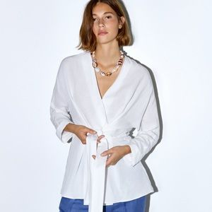NWT Zara women's blouse | white linen | medium